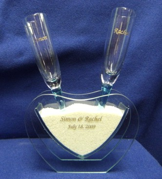 Heart Vase with Toasting Glasses